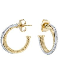 David Yurman - David Yurman Cable 18k & Silver 0.49 Ct. Tw. Diamond Crossover Hoops - Lyst