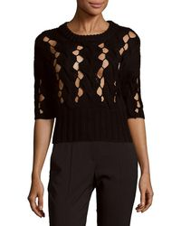 DKNY - Cable Knitted Wool Sweater - Lyst