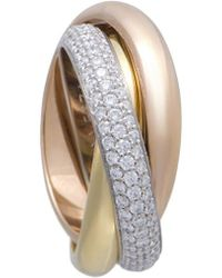 Cartier - Cartier 18k Tri-tone 0.99 Ct. Tw. Diamond Ring - Lyst