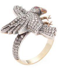 Amrapali - 14k, Ruby & 1.10 Ct. Tw. Diamond Bird Ring - Lyst