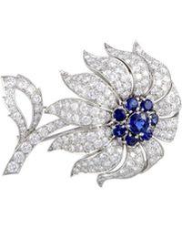 Heritage Tiffany & Co. - Tiffany & Co. Platinum 10.00 Ct. Tw. Diamond & Sapphire Brooch - Lyst