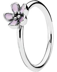 PANDORA - Daisy Signet Silver Enamel Ring - Lyst