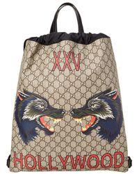 Gucci Gg Supreme Hollywood Print Drawstring Backpack