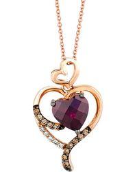 Le Vian - ? 14k Rose Gold 2.14 Ct. Tw. Chocolate & White Diamond & Rhodolite Necklace - Lyst