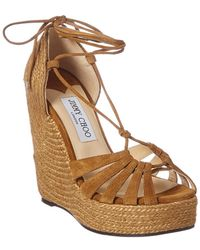 Jimmy Choo - Denize 125 Suede Wedge Sandal - Lyst