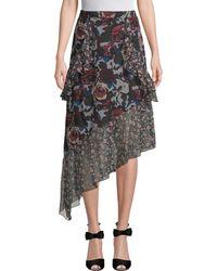 Anna Sui - Asymmetric Ruffled Floral-print Silk-chiffon Skirt - Lyst