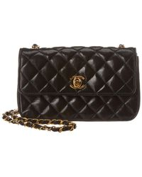 413f0716e0a Chanel - Black Quilted Lambskin Leather Small Half Flap Bag - Lyst