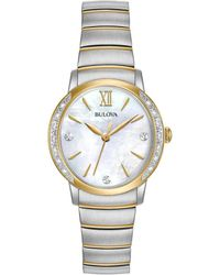 Bulova - Women's Diamond Accent Two-tone Stainless Steel Bracelet Watch 28mm 98r231 - Lyst