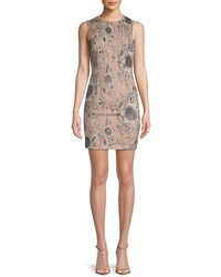 Adrianna Papell - Embroidered Floral Sheath Dress - Lyst