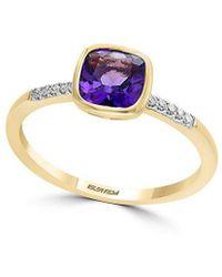 Effy - 14k Yellow Gold, Diamond And Amethyst Ring - Lyst