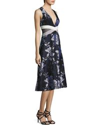 ABS By Allen Schwartz - Floral Mesh Side Cutout Fit & Flare Dress - Lyst