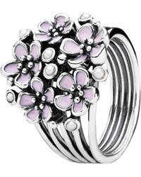 PANDORA - Cherry Blossom Bouquet Silver & Enamel Pearl Ring - Lyst