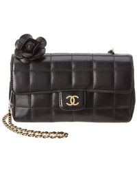 1c5c71316c86 Chanel - Black Quilted Lambskin Leather Limited Edition Chocobar Mini Flap  Bag - Lyst