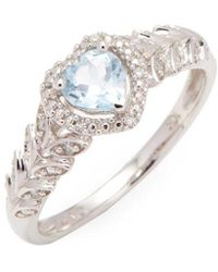 Rina Limor - 10k Sky-blue Topaz And Diamond Halo Heart Ring - Lyst