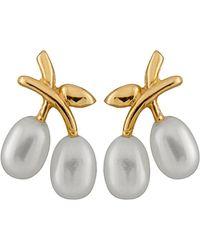 Splendid - 10k Yellow Gold 4.5-5mm Freshwater Pearl Earrings - Lyst