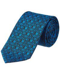Versace - Blue Logo Check Silk Tie - Lyst