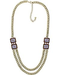 Sparkling Sage - Plated Resin & Crystal Double Layer Chain Necklace - Lyst