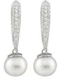 Splendid - Silver 7.5-8mm Freshwater Pearl & Cz Drop Earrings - Lyst