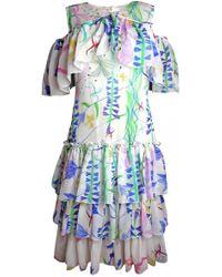 Plakinger - Fantasy Print Silk Georgette Ruffled Dress - Lyst