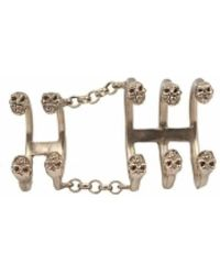 Bernard Delettrez - Bronze Articulated Ring With 10 Skulls - Lyst
