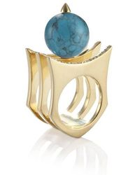 Yael Salomon - Greta 01 Gold And Turquoise Ring - Lyst