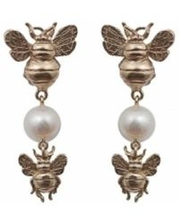 Bernard Delettrez | Bronze Earrings With Bees And Pearl | Lyst
