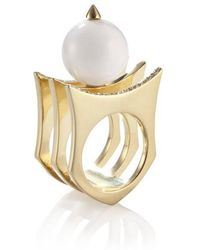 Yael Salomon - Greta 01 Gold And Pearl Ring - Lyst