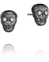 Madstone - Mini Skull Black White Studs - Lyst