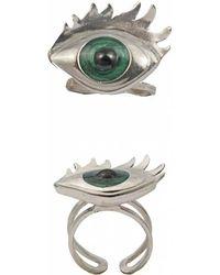 Bernard Delettrez   Silver Ring With Green Enamelled Eye   Lyst