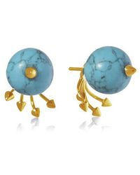 Yael Salomon - Greta 05 Gold And Turquoise Earring - Lyst