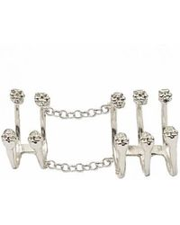 Bernard Delettrez - Silver Articulated Ring With 10 Skulls - Lyst