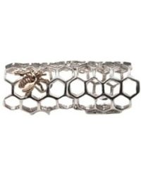 Bernard Delettrez - Silver Articulated Honey Comb Ring With Bronze Bee - Lyst