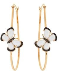 Christina Debs | White Agate Butterflies 18k Gold Hoop Earrings | Lyst