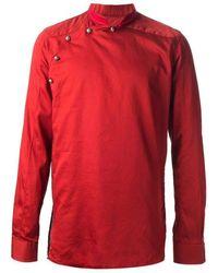 Balmain - Red Asymmetrical Button Long Sleeve Shirt - Lyst