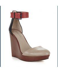 BCBGMAXAZRIA - Bcbg Maxazria Dame Color Block Leather Wedge Sandal - Lyst