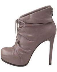 Pour La Victoire - Grey Leather 'asas' Ankle Boots - Lyst