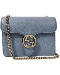 32330589f Gucci Blue Leather Marmont Interlocking GG Crossbody Bag