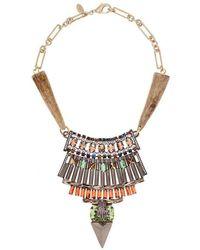 Iosselliani - Gold Crystal Leopard Head Bib Necklace - Lyst
