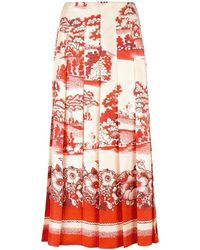 Gucci - Porcelain Garden Print Midi Skirt - Lyst