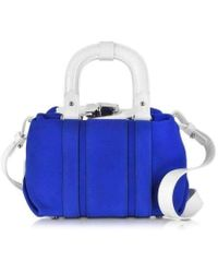 Carven Pelham Blue Suede Small Shoulder Bag