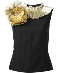 06f5f44c93750f Dries Van Noten - Gold Ruffle Swirl Cotton Top - Lyst