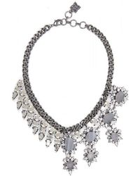 BCBGMAXAZRIA - Bcbg Maxazria Half Gemstone Spiked Necklace - Lyst