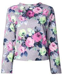 Carven - Floral Print Cotton Sweater - Lyst