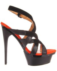 L.A.M.B. - Elegant 'imoden' Black High Heel Caged Sandals - Lyst