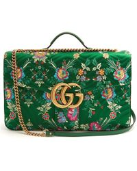 6bf7a0c9295 Gucci - Green Gg Marmont Maxi Floral-jacquard Shoulder Bag - Lyst