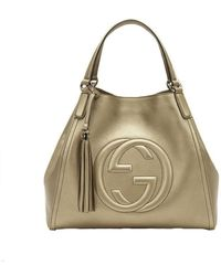 Gucci - Soho Leather Medium Chain-strap Tote, Gold Beige - Lyst