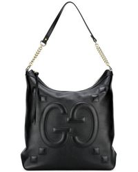 6048a34bd24278 Gucci - Leather Tote With Embossed GG In Black - Lyst