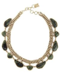 BCBGMAXAZRIA - Bcbg Maxazria Gold Green Natural Stone Collar Necklace - Lyst