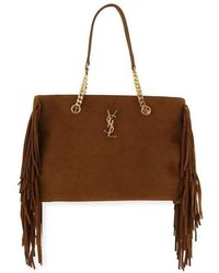 6151bfb6df7 Saint Laurent - Ysl Large Monogram Suede Fringe Tote Shopper Bag - Lyst