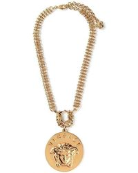 Versace - Gold Embellished Medusa Oversized Pendant Necklace - Lyst